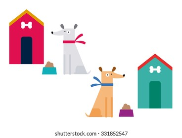 Cute dogs set vector