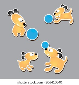 Cute dogs set. vector collection of puppy