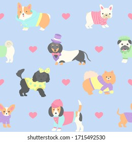 Cute dogs wearing clothes seamless pattern
