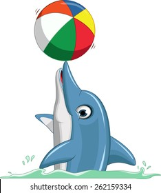 cute dolphin cartoon playing ball