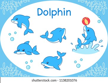Cute Dolphin Cartoon set