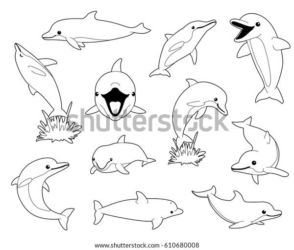 Cute Dolphin Coloring Book Cartoon Vector Stock Vector ...
