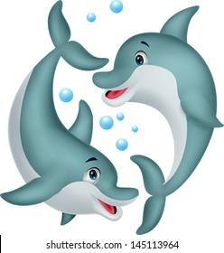 Cute dolphin couple cartoon