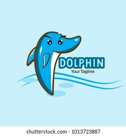 cute dolphin logo vector, dolphin cartoon mascot