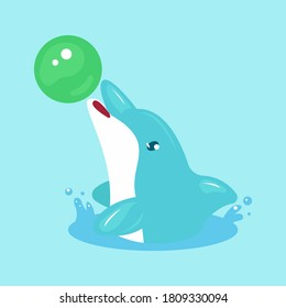 Cute dolphin sea animal mascot design illustration