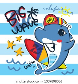 Cute dolphin wearing a cap and holding a surfboard with big wave on striped background illustration vector, T-shirt design for kids.