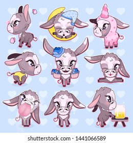Cute donkey kawaii cartoon vector characters set. Adorable and funny mule, burro animal isolated stickers, patches, girlish illustrations. Anime baby happy donkeys emojis pack on blue background