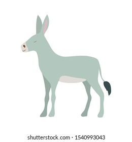 cute donkey manger animal character vector illustration design