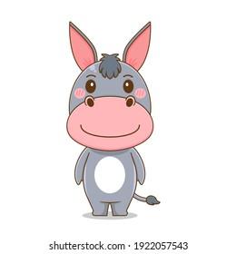 Cute donkey mascot design illustration