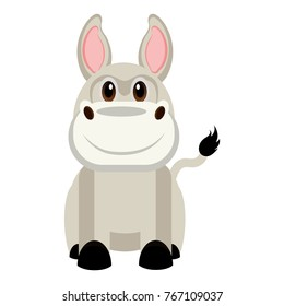 Cute donkey on a white background, Vector illustration