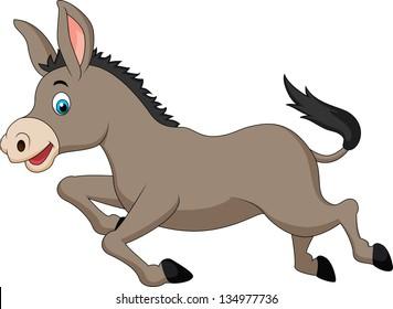 Cute donkey running