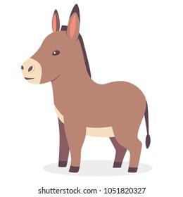 Cute donkey vector cartoon animal character. Mule illustration isolated on white background.