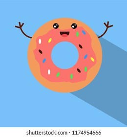 cute donut flat design vector icon