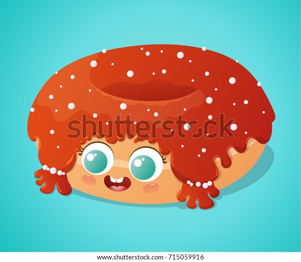 Cute Donut Sugar Pearls Red Icing Stock Vector (Royalty Free