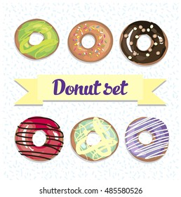Cute donut vector set. Six donuts with cream and topping on white background