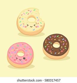 Cute Donuts Doughnut Vector Illustration Cartoon Character Pink Chocolate Vanilla Sprinkles
