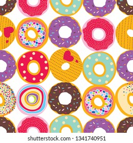 Cute donuts.Vector seamless pattern. Can be used in textile industry, paper, background, scrapbooking.