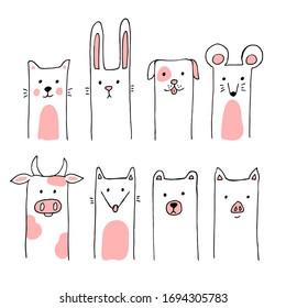 Cute doodle animals. Cat, rabbit, dog, mouse, cow, fox, bear, pig. Hand drawn vector illustration for postcard, poster, nursery t-shirt, kids apparel, invitation