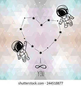 cute doodle astronauts couple and heart formed constellation on trendy geometric background, cosmic card for valentine's day, vector illustration