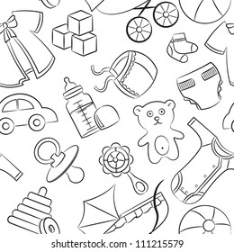 Cute doodle baby seamless pattern