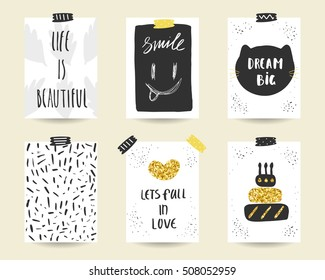 Cute doodle black and gold birthday, party, baby shower cards, brochures, invitations with cake, heart, cat, smile, leaves. Cartoon characters, objects background. Printable templates set