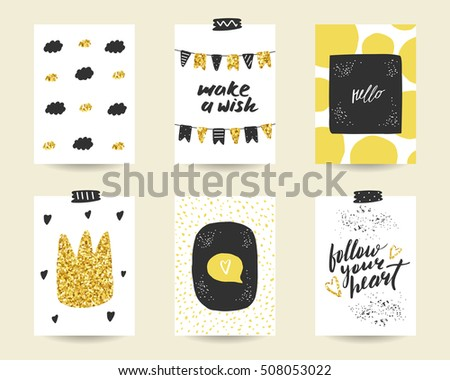 cute doodle black gold birthday party stock vector royalty free