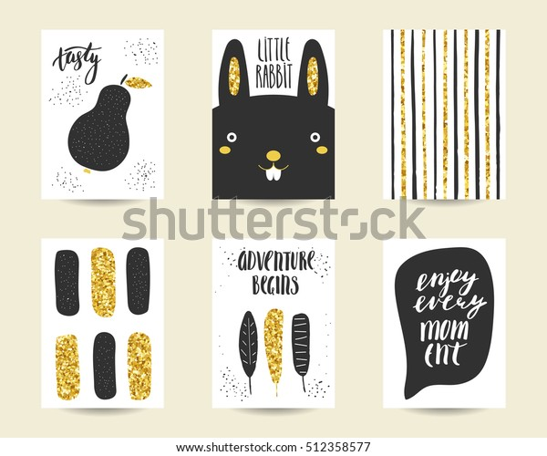 Cute Doodle Black Gold Birthday Party Stock Vector Royalty Free 512358577
