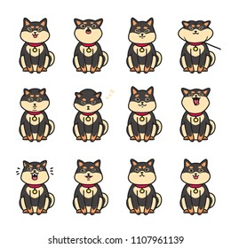 Cute doodle black shiba inu emotions. Stickers vector set.