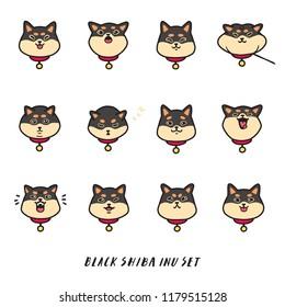 Cute doodle black shiba inu's head emotions. Stickers vector set.