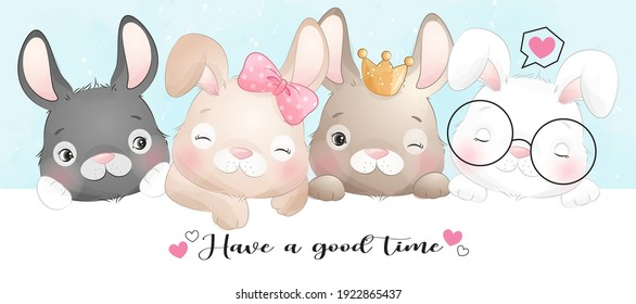 Cute doodle bunny with watercolor illustration