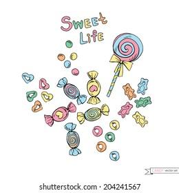 cute doodle candy vector set