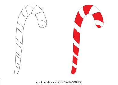 Cute doodle cartoon Christmas lollipop in flat style colour and outline. Vector Candy cane icon illustration isolated on white background. Simple hand drawn style. Coloring page for children.