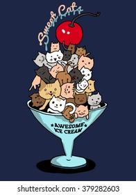 cute doodle cat ice cream