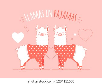Cute doodle character llamas sticker in trendy living coral colour happy,smiling,naughty,laughing pink mascots. Adorable charming lama animals in pajamas