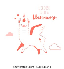 Cute doodle character llamas sticker in trendy living coral colour happy,smiling,naughty,laughing pink mascot. Adorable charming lama animal, llamacorn
