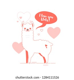 Cute doodle characters llamas stickers in trendy living coral colour happy,smiling,naughty,laughing faces on pink background.Adorable charming lama animals with speech bubble I love you llots