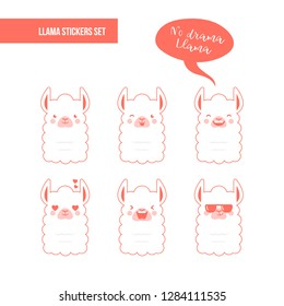 Cute doodle characters llamas stickers in trendy living coral colour happy,smiling,naughty,laughing faces on pink background.Adorable charming lama animals with speech bubble No Drama Llama