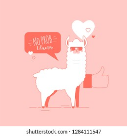 Cute doodle characters llamas stickers in trendy living coral colour happy,smiling,naughty,laughing faces on pink background.Adorable charming lama animals with speech bubble No Prob Llama