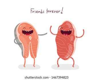 Cute doodle characters marble beef steak and salmon steak are the best friends forever. Isolated vector illustration.