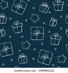 Cute doodle Christmas elements. Vector hand drawn illustration. Christmas presents pattern. Design for printed, fabric, wrapping and cards. Various colorful gifts.