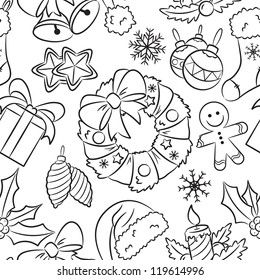 Cute doodle Christmas seamless pattern