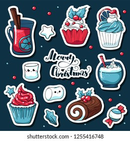 Cute doodle Christmas stickers in cartoon style. Vector hand drawn images of candy, marshmallow, christmas log, mulled wine, cacao, stars. Merry christmas lettering.