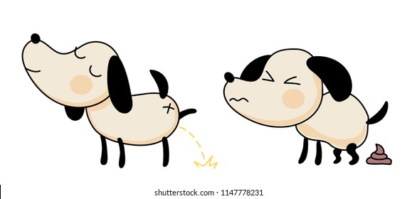 cute doodle dog shits and pisses. cartoon vector illustration