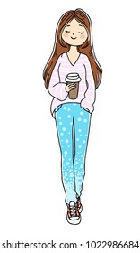 Cute doodle girl with a cup of coffee. Hand drawn vector isolated illustration.
