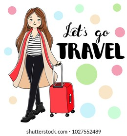 Cute doodle girl with a suitcase. Hand drawn vector isolated illustration on a white background.