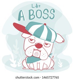 Cute doodle hand drawing bulldog wear cap like a boss cartoon flat vector in vintage green and red color, great for kid, child, souvenir printable stuff, greeting card, baby shower and birthday