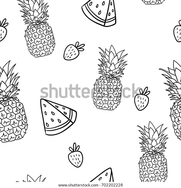 Cute doodle hand drawn outlined coloring book zentangle seamless pattern background illustration with pineapple, strawberry and watermelon slice