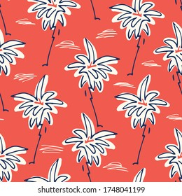 Cute Doodle Hand Drawn Palms Hawaiian Beach Shirt Vector Seamless Pattern. Retro Surf and Beach Tropical Vacation Print for Fashion, Textile. Funky Playful Eighties Style Summer Red Background.