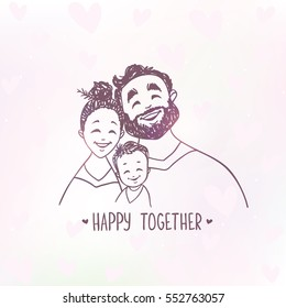 Cute doodle of happy family. Vector illustration. Cartoon. Romantic young positive smiling people. Parents with baby.