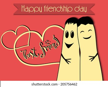 Cute doodle with Happy Friendship Day background.